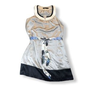 Arden B Sleeveless Silk Dress, Gray and Black